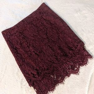 Lulu's Maroon Tiered Lace Skirt